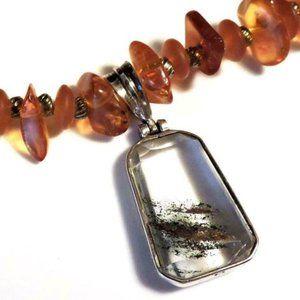 Vtg Amber Nugget Necklace Sterling Quartz Pendant